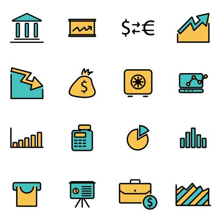 economics: Trendy flat line icon pack for designers and developers. Vector line economic icon set, economic icon object, economic icon picture, economic image - stock vector Illustration