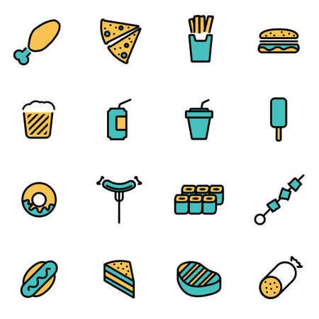 fastfood: Trendy flat line icon pack for designers and developers. Vector line fastfood icon set, fastfood icon object, fastfood icon picture, fastfood image - stock vector Hình minh hoạ