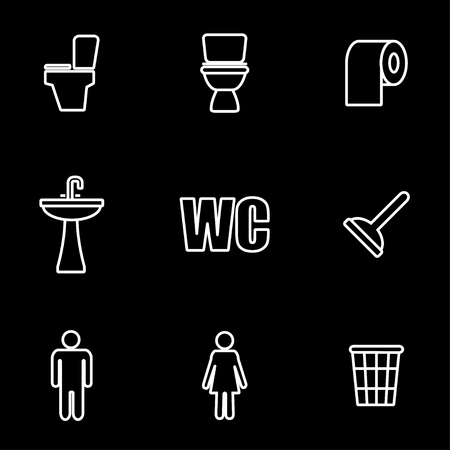 man and women wc sign: Vector line toilet icon set. Toilet Icon Object, Toilet Icon Picture, Toilet Icon Image - stock vector