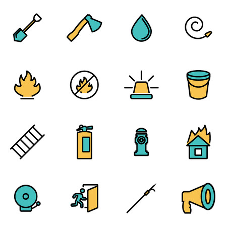 smoke alarm: Trendy flat line icon pack for designers and developers. Vector line firefighter icon set, firefighter icon object, firefighter icon picture, firefighter image - stock vector