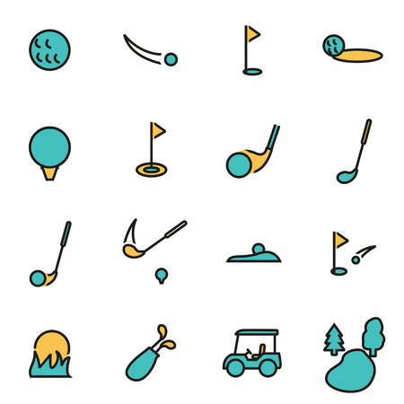 for designers: Trendy flat line icon pack for designers and developers. Vector line golf icon set, golf icon object, golf icon picture, golf image - stock vector Illustration