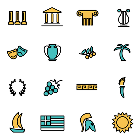 roman pillar: Trendy flat line icon pack for designers and developers. Vector line greece icon set, greece icon object, greece icon picture, greece image - stock vector Illustration