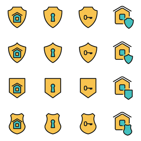 developers: Trendy flat line icon pack for designers and developers. Vector line home security icon set, home security icon object, home security icon picture, home security image - stock vector