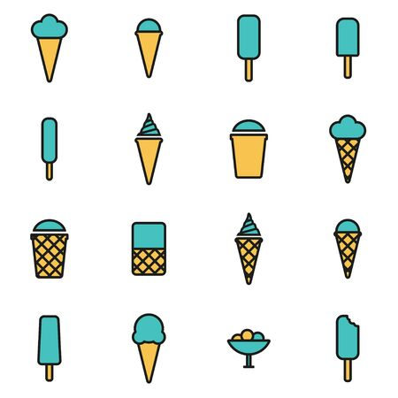 pack ice: Trendy flat line icon pack for designers and developers. Vector line ice cream icon set, ice cream icon object, ice cream icon picture, ice cream image - stock vector Illustration