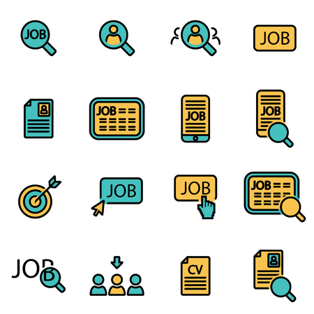 find a job: Trendy flat line icon pack for designers and developers. Vector line job search icon set, job search icon object, job search icon picture, job search image - stock vector