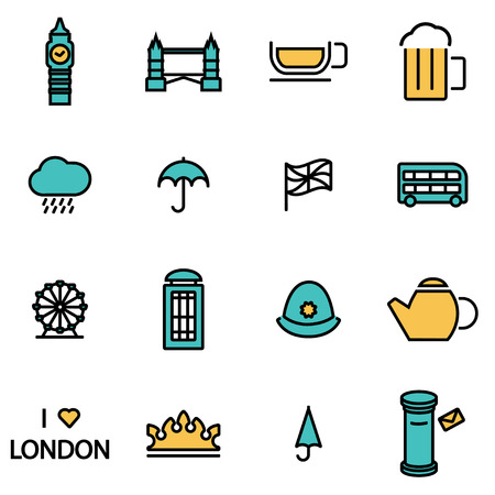 uk flag: Trendy flat line icon pack for designers and developers. Vector line london icon set, london icon object, london icon picture, london image - stock vector