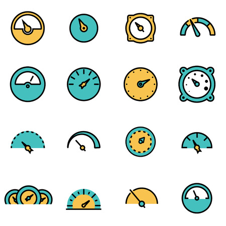 developers: Trendy flat line icon pack for designers and developers. Vector line meter icon set, meter icon object, meter icon picture, meter image - stock vector Illustration