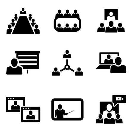 training room: Vector Conference icons set. Business communication. Conference Icon Object, Conference Icon Picture, Conference Icon Image - stock vector Illustration