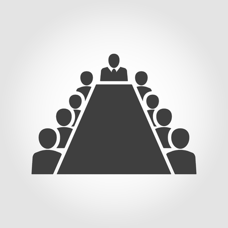 board room: Board room members sitting around a table. Board Room Icon Object, Board Room Icon Picture, Board Room Icon Image - stock vector Illustration