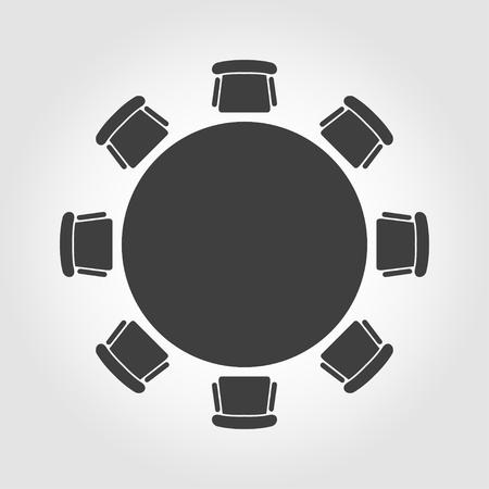 Vector table ronde icône. Table ronde Icône Objet, Table ronde Icône Image, Table ronde Icône Image - Image vectorielle