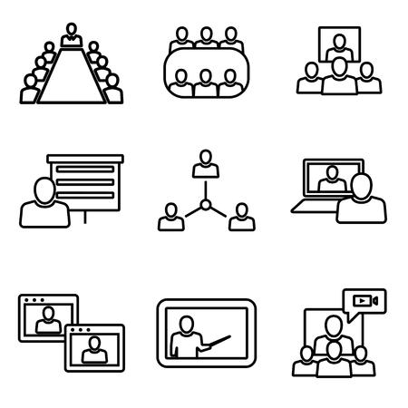 Vector line conference icons set. Business communication. Conference Icon Object, Conference Icon Picture, Conference Icon Image - stock vector