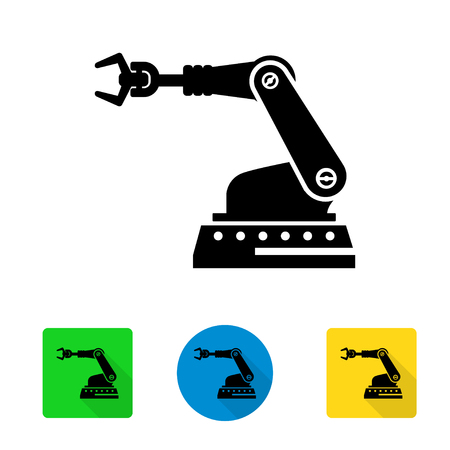 robot arm: Vector industrial robot arm icon. Industrial Robot Arm Icon Object, Industrial Robot Arm Icon Picture - stock vector