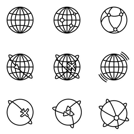 global communication: Vector Earth Global Communication icons set. Earth Global Icon Object, Earth Global Icon Picture - stock vector