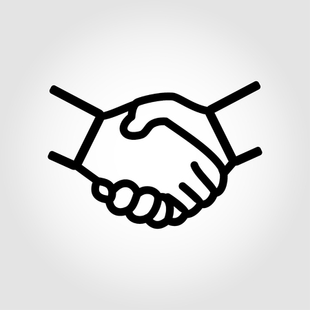 business relationship: Vector line handshake icon. Handshake Icon Object, Handshake Icon Picture, Handshake Icon Image - stock vector