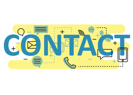 virtual assistant: Contact concept flat line design with icons and elements. Modern contact concept vectors collection. Thin line flat design banners for website and mobile website, easy to use and highly customizable. Contact concept lettering