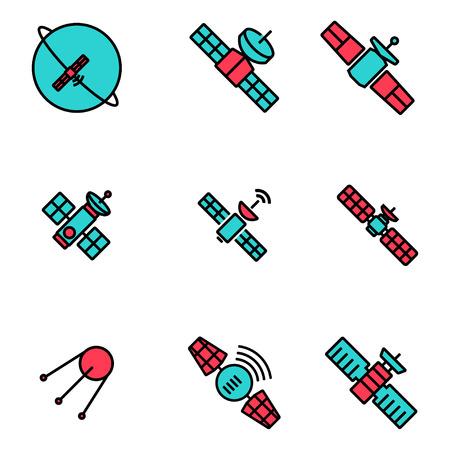 satellite in space: Vector line orbit satellite icons set. Orbit Satellite Icon Object, Orbit Satellite Icon Picture, Orbit Satellite Icon Image - stock vector