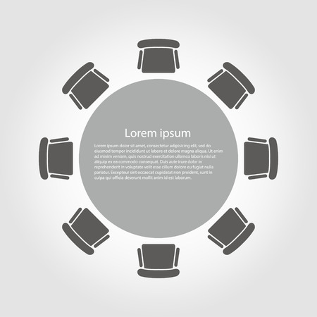 Vector ronde tafel icoon. Round Table Icon Object, Ronde Tafel Icon Picture, Ronde Tafel Icon Afbeelding - voorraad vector