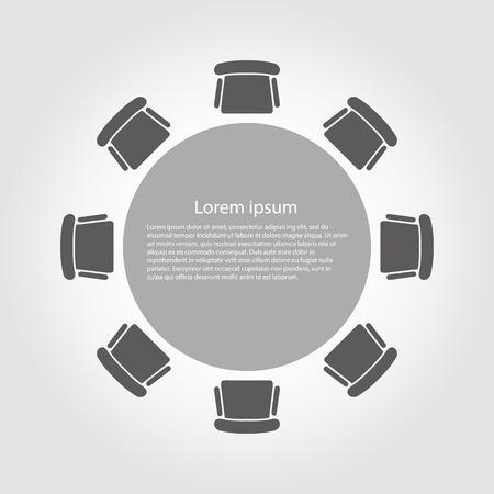 Wektor ikona okrągły stół. Okrągły Stół Ikona Obiekt, Okrągły Stół Ikona Obraz, Okrągły Stół Ikona Image - Grafika wektorowa