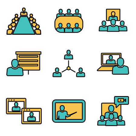 Vector flat line conference icons set. Business communication. Conference Icon Object, Conference Icon Picture, Conference Icon Image - stock vector