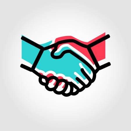 Icône Vector Handshake ligne. Objet d'icône de poignée de main, image d'icône de poignée de main, image d'icône de poignée de main - vecteur stock