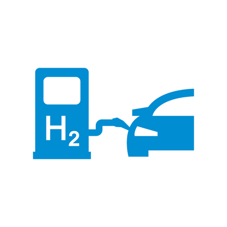 fuel cell: Vector car hydrogen station icon. Fuel Cell Car.