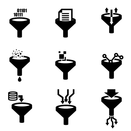 filtering: Vector black filter data icon set. Filter Data Icon Object, Filter Data Icon Picture, Filter Data Icon Image - stock vector Illustration