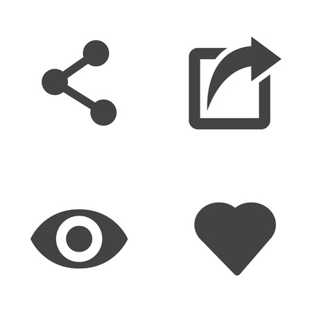 view icon: Vector like share view icon set. Like Share View Icon Object, Like Share View Icon Picture, Like Share View Icon Image - stock vector