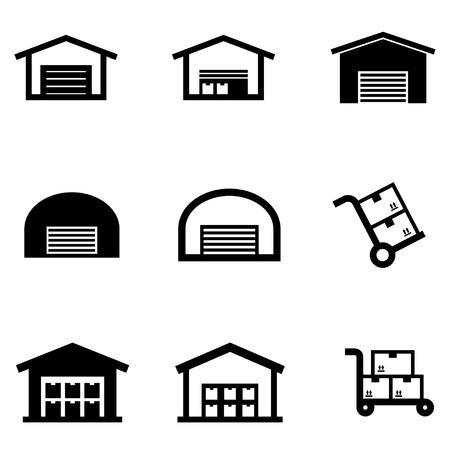 Vector black warehouse icon set. Warehouse Icon Object, Warehouse Icon Picture, Warehouse Icon Image - stock vector