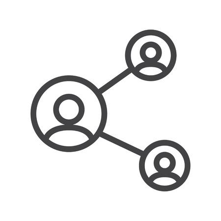peer to peer: Vector línea de acción, icono de red adecuada en el fondo blanco