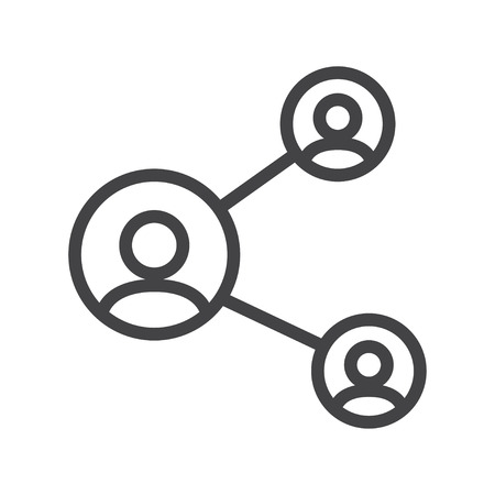peer: Vector line share, network icon suitable on white background Illustration
