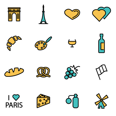 developers: Trendy flat line icon pack for designers and developers. Vector line paris icon set, paris icon object, paris icon picture, paris image - stock vector Illustration