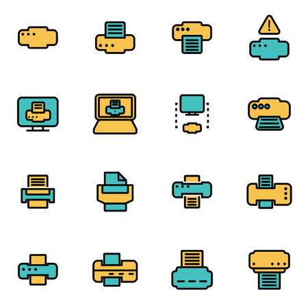 developers: Trendy flat line icon pack for designers and developers. Vector line printer icon set, printer icon object, printer icon picture, printer image - stock vector