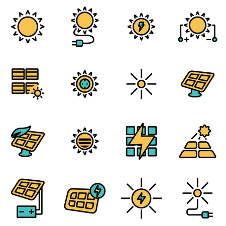 energy picture: Trendy flat line icon pack for designers and developers. Vector line solar energy icon set, solar energy icon object, solar energy icon picture, solar energy image - stock vector