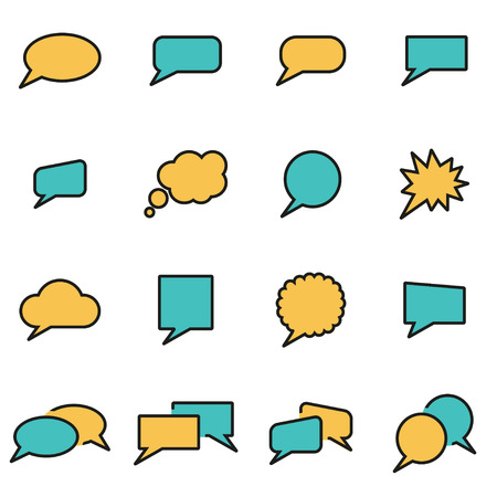 speach: Trendy flat line icon pack for designers and developers. Vector line speach bubbles icon set, speach bubbles icon object, speach bubbles icon picture - stock vector
