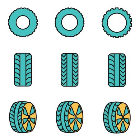 air liner: Trendy flat line icon pack for designers and developers. Vector line tire icon set, tire icon object, tire icon picture, tire image - stock vector Illustration
