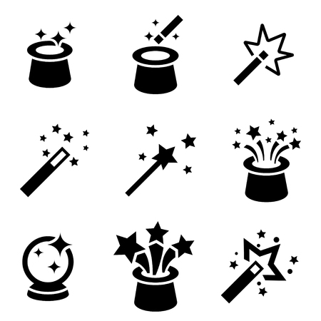 cappelli: Vector Magic nero set di icone. Magia Icona Oggetto, magia Icona Immagine, Magia Icona Immagine - vettoriali