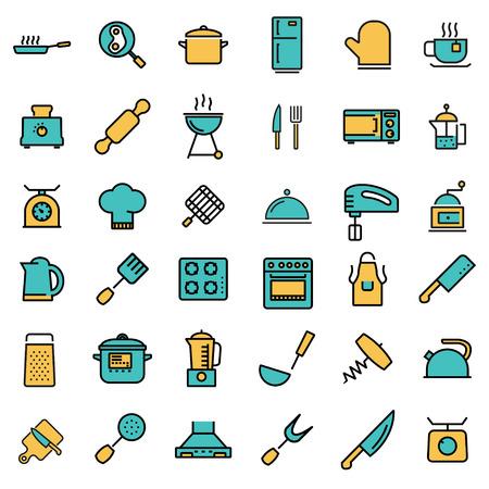 Vector línea plana cocina y cocina los iconos fijados. Cocina y Cocina Icono Objeto, Cocina y Cocina icono de imagen - vector stock Ilustración de vector