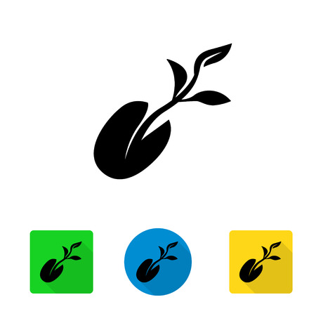 germination: Vector black starting plant from seed icon. Little plant seedling germination