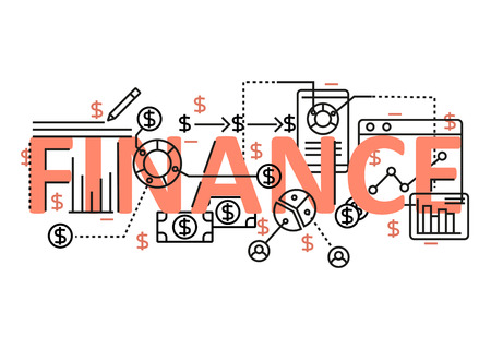 line design: Finance concept flat line design with icons and elements. Modern finance concept vectors collection. Thin line flat design banners for website and mobile website, easy to use and highly customizable. Finance concept lettering Illustration