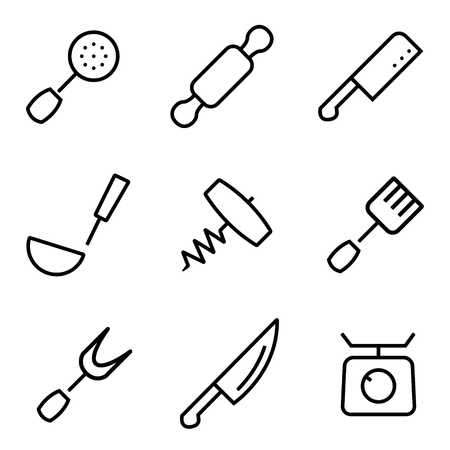 drink tools: Vector line kitchen and cooking icons set. Kitchen and Cooking Icon Object, Kitchen and Cooking Icon Picture - stock vector Illustration