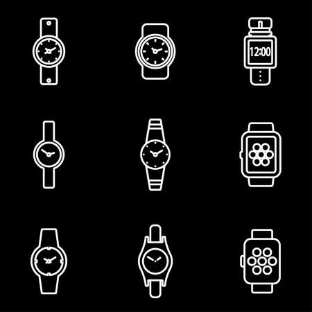 wristwatch: Vector line wristwatch icon set. Wristwatch Icon Object, Wristwatch Icon Picture, Wristwatch Icon Image - stock vector Illustration
