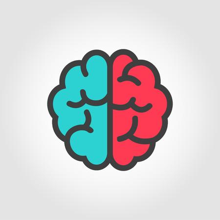 Vector flat color line brain icon. Brain Icon Object, Brain  Icon Picture, Brain Icon Image - stock vector