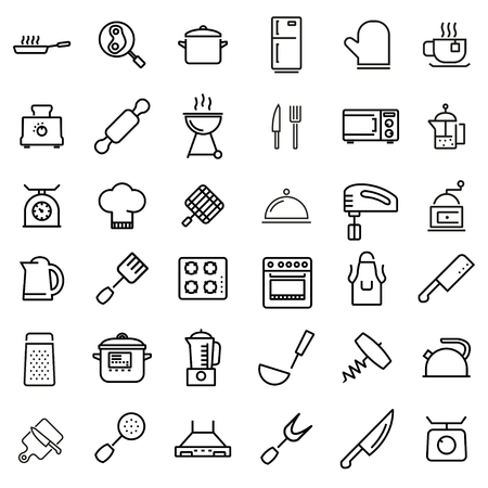 Vector line kitchen and cooking icons set. Kitchen and Cooking Icon Object, Kitchen and Cooking Icon Picture - stock vector Çizim