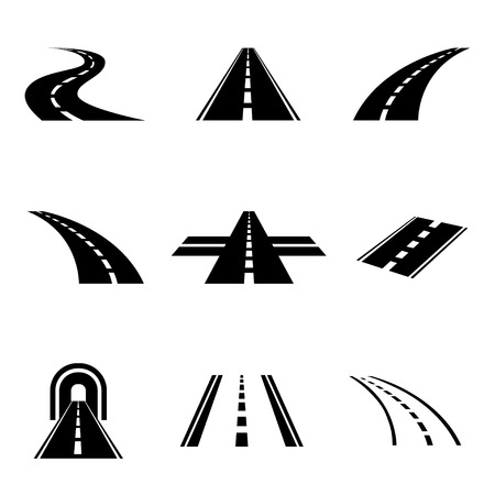 Vector black car road icons set. Highway symbols. Road signs