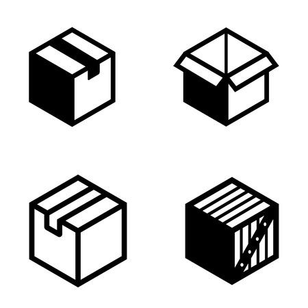 boxs: Vector black boxs pictogram icons set. Mail Box icon.