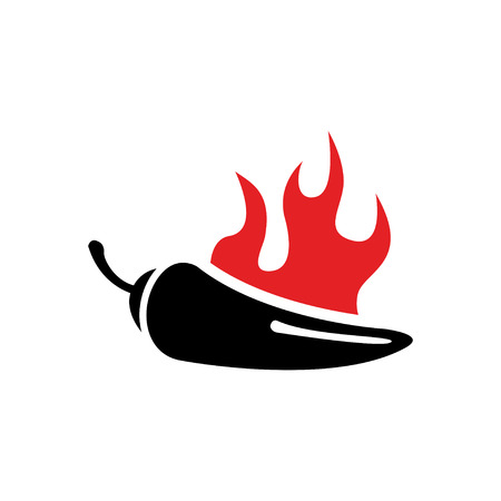 red jalapeno: Vector black chilli pepper icon and red fire. Jalapeno peppers symbol Illustration