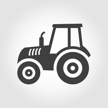 balck: Vector balck tractor icon on grey background. Farmer machine icon