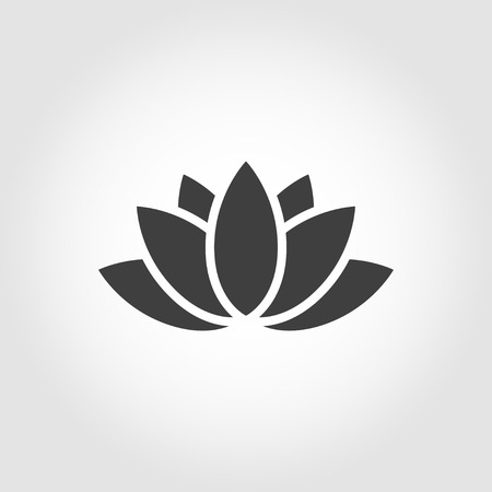 harmony nature: Vector black lotus icon on grey background. Lotus plant. Lotus flower