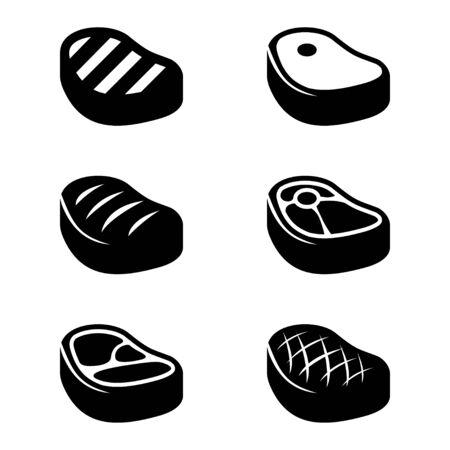 meat steak: Vector black steak icons set. Beef meat steak icons. Grilled steak Illustration
