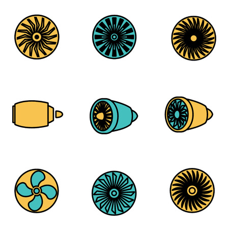 planos electricos: Trendy flat line icon pack for designers and developers. Vector line turbines icon set, turbines icon object, turbines icon picture - stock vector Vectores